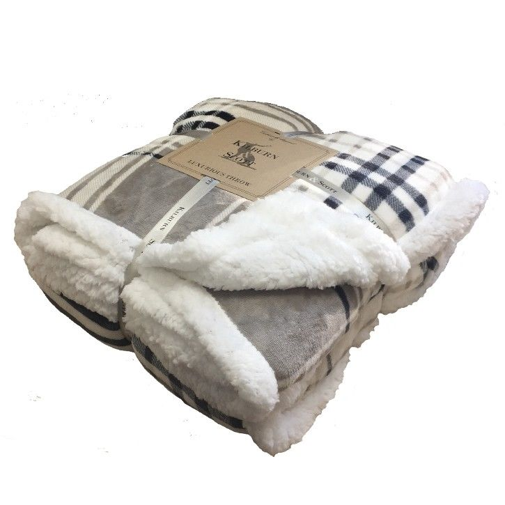Kilburn & Scott Sherpa Throw Taupe & Grey Check