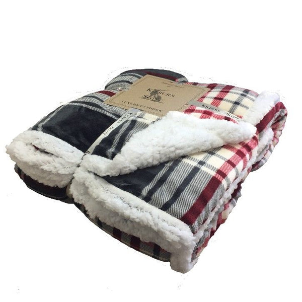 Kilburn & Scott Sherpa Throw Red & Grey Check