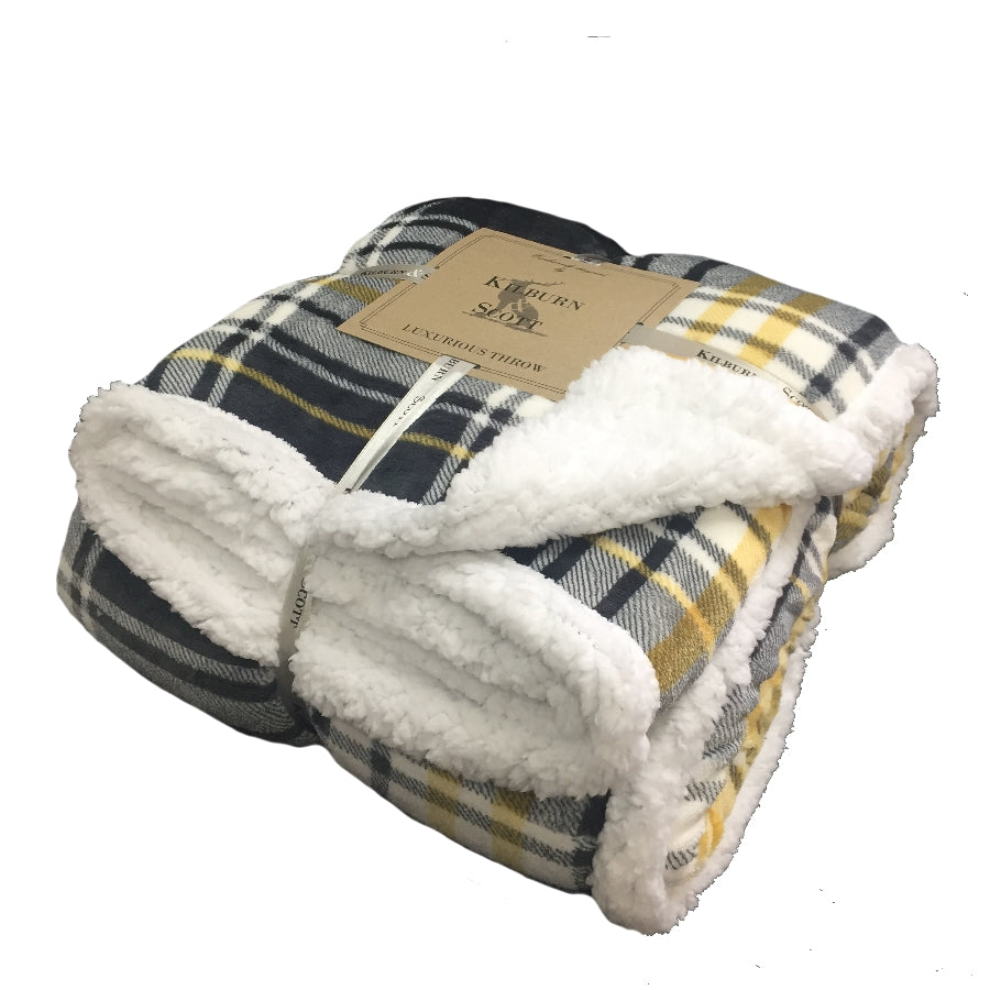 Kilburn & Scott Sherpa Throw Grey & Ochre Check