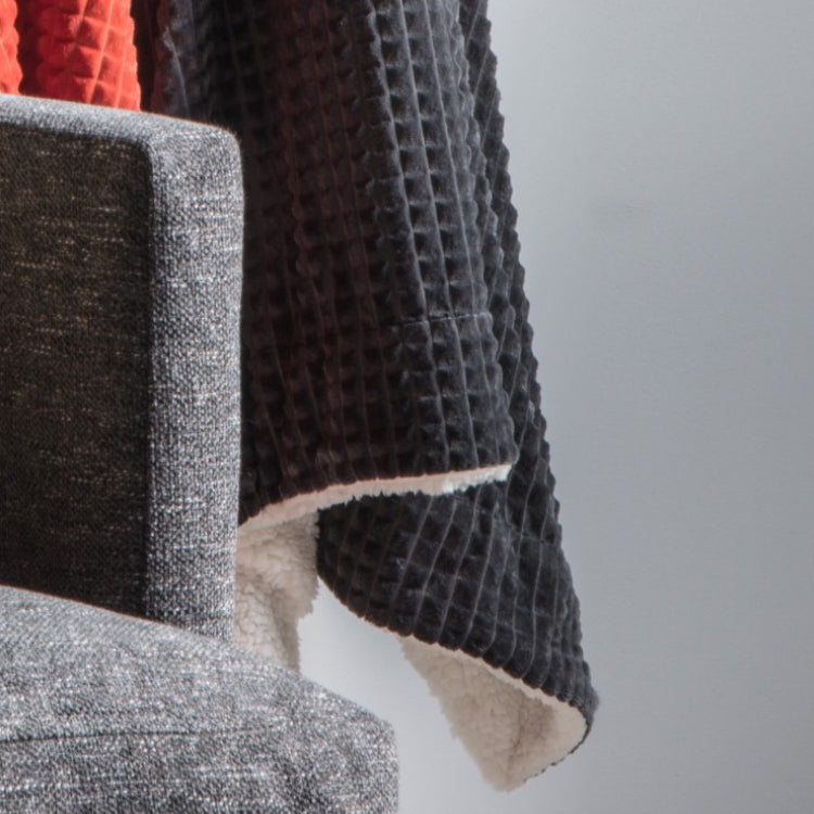 Lagom Cubic Embossed Sherpa Throw Charcoal