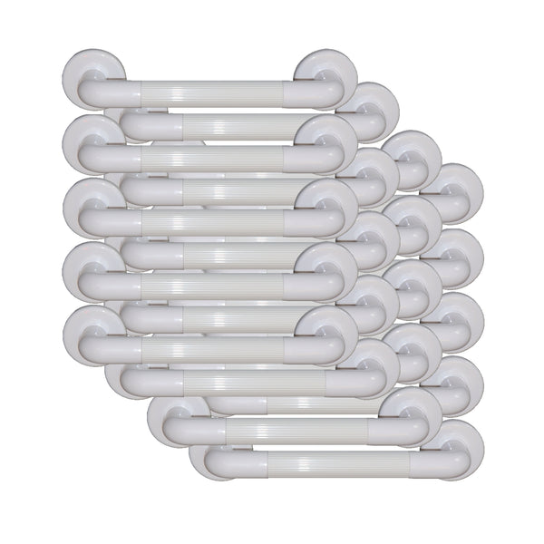 20 Pack Grab Rail White Heavy Duty Plastic Fluted for Wholesale Bulk