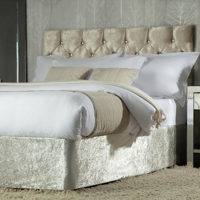 Belledorm Divan Bed Base Wrap Crushed Velvet Champagne