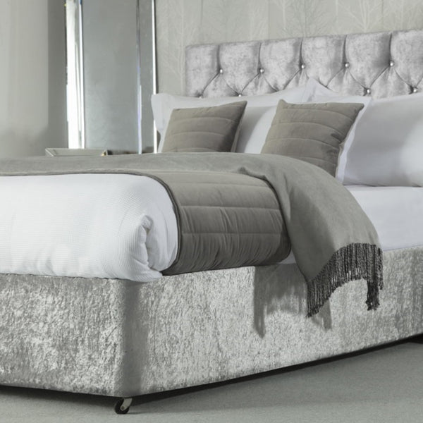 Belledorm Divan Bed Base Wrap Crushed Velvet Silver