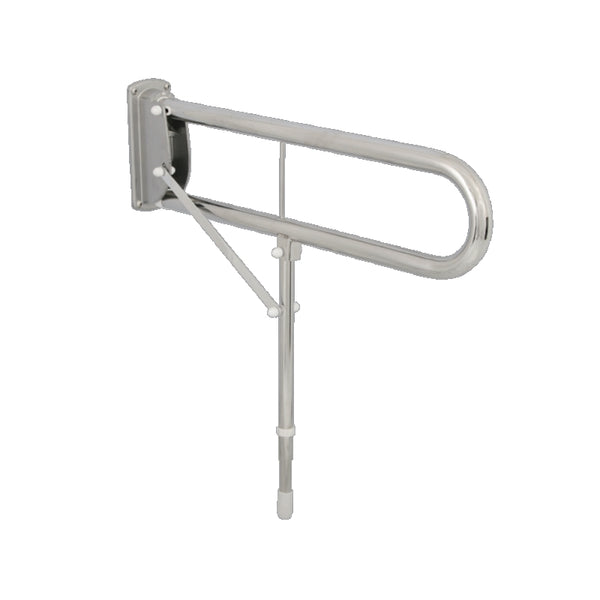 "Double Arm Drop Down Rail 30"" Stainless Steel Mirror Polished with Support Leg"