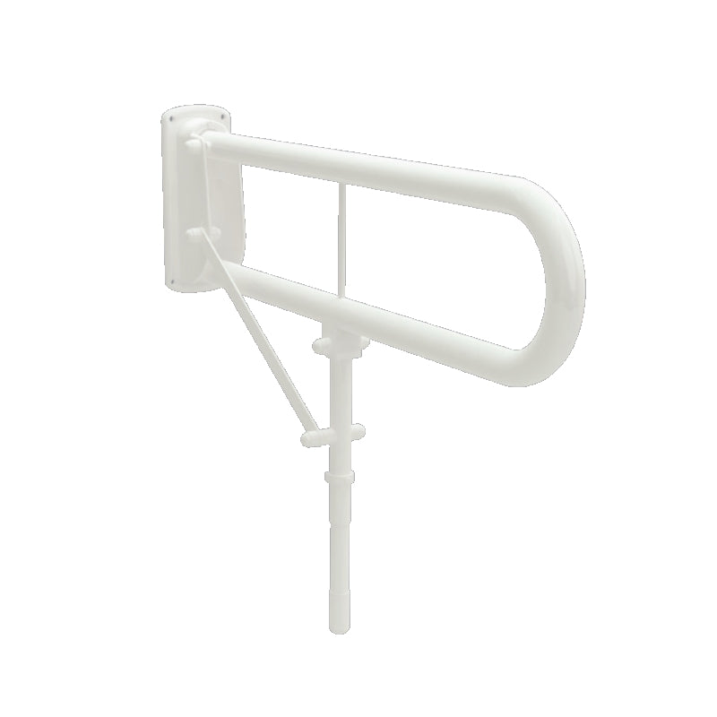 "Double Arm Drop Down Grab Rail 30"" Mild Steel White with Leg Support"