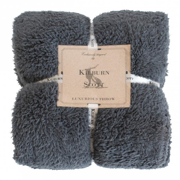 Kilburn & Scott Teddy Fleece Throw Charcoal