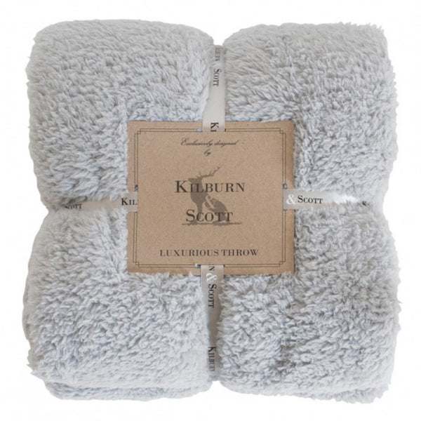 Kilburn & Scott Teddy Fleece Throw Silver