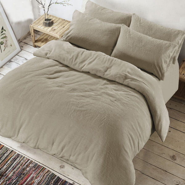 Nightzone Teddy Fleece Duvet Cover Set Taupe