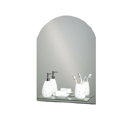 Shower Drape Greenwich Arched Mirror with Glass Vanity Shelf 70 x 50cm