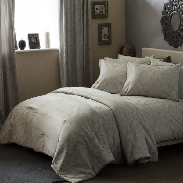 Belledorm Bromley Jacquard Silver Cotton Rich Duvet Cover Set