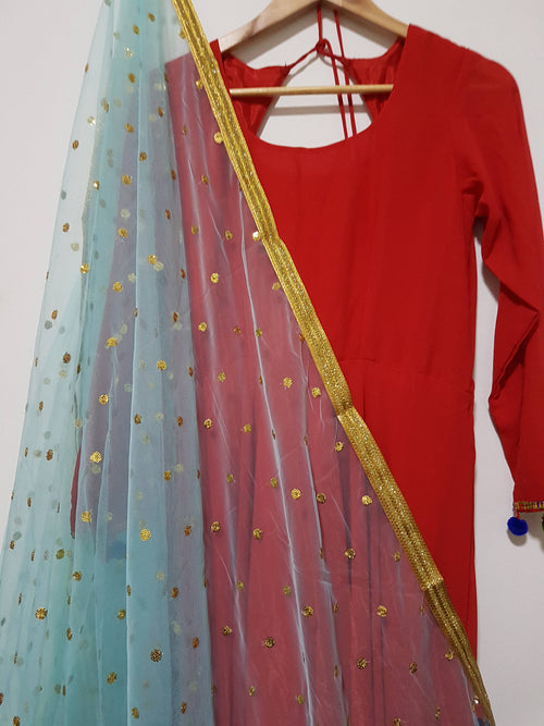 20% OFF!! Baby Blue Gold Sequins Embroidered net dupatta (scarf), bridal wear, party wear, suit, lehenga, anarkali - Pink Chunari