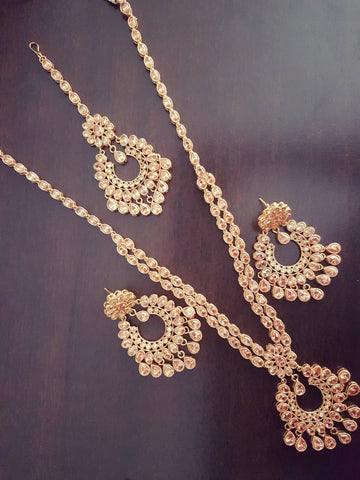Gorgeous Indian polki bridal party wear 3 layer haar necklace with mangtikka and earrings set Indian Pakistani Bride Bridesmaid