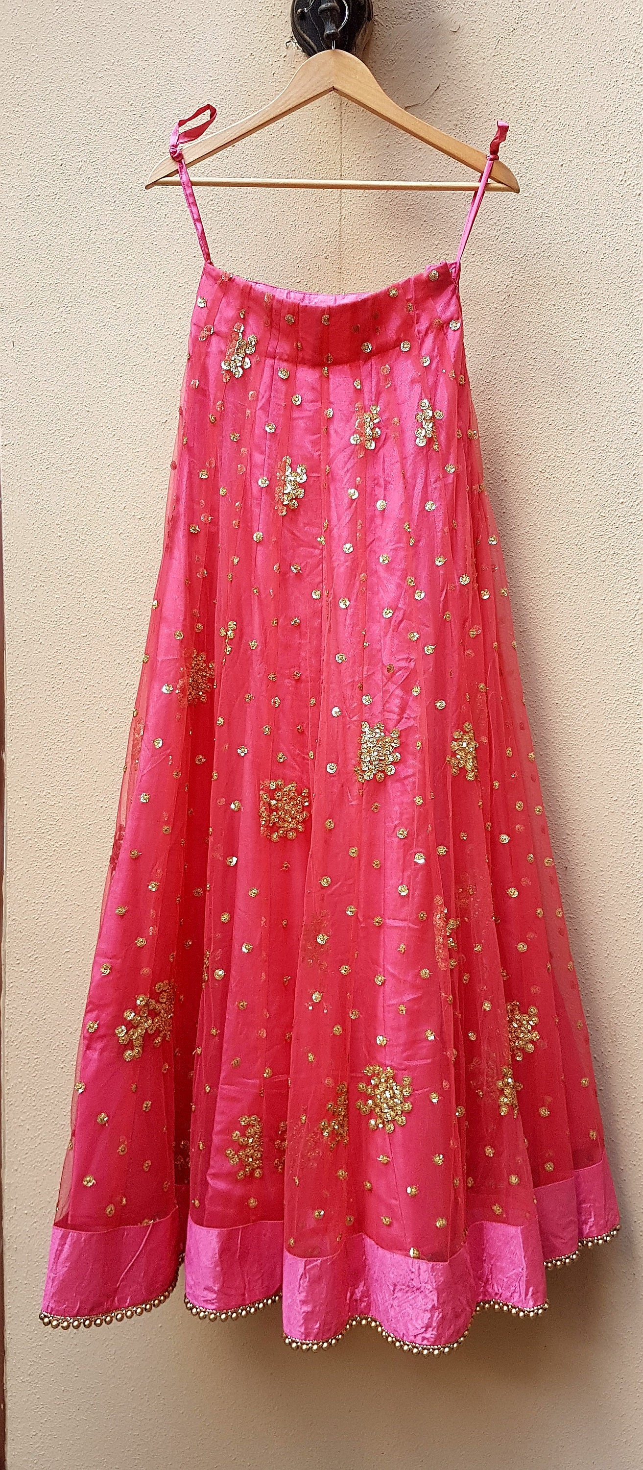 Heavy sequins embroidered Lehenga Skirt, wedding, bridal, party wear, Indian Pakistani Wear - Pink Chunari