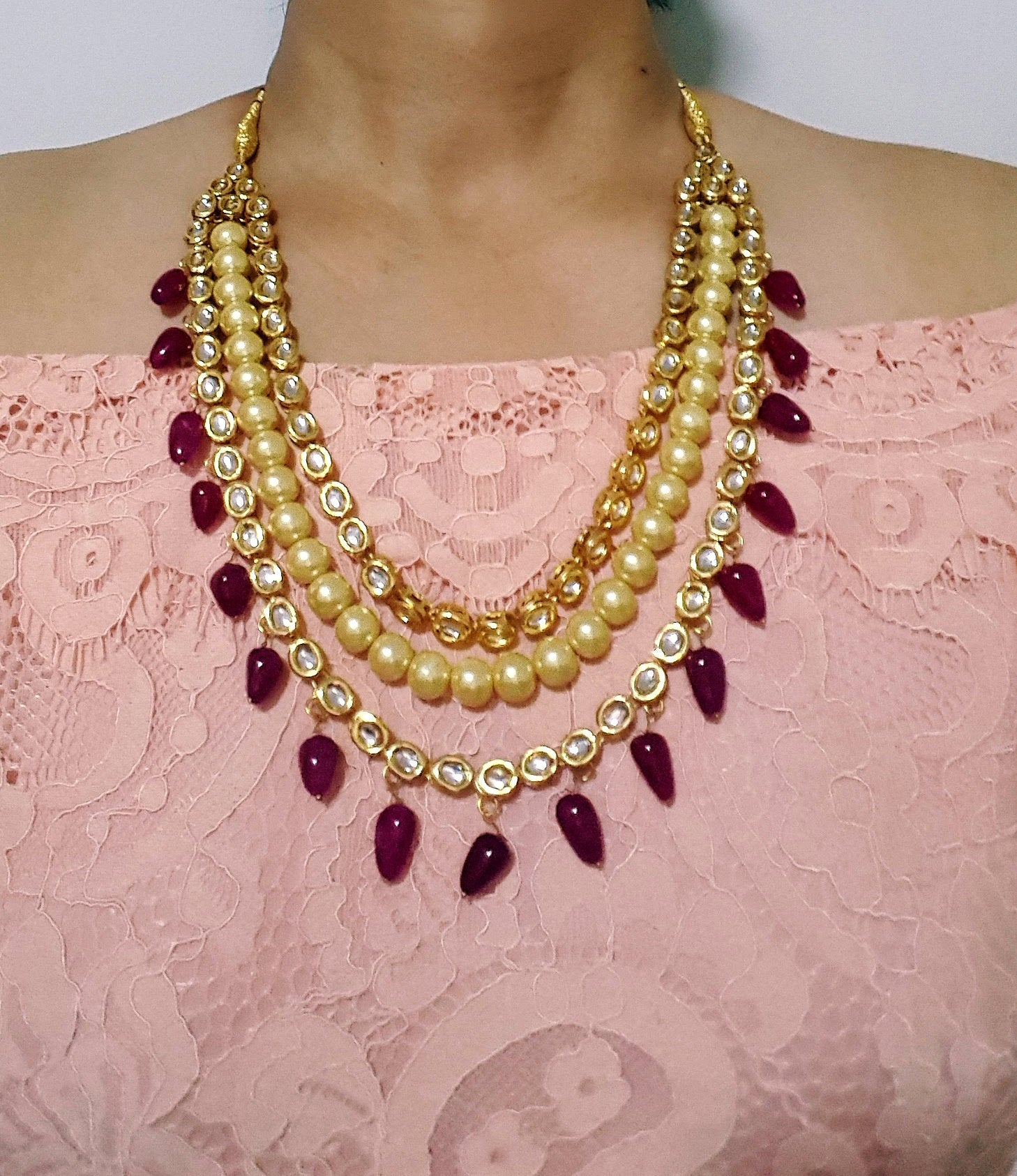 Gorgeous kundan bridal / non-bridal necklace with pearls and red semi-precious stone beads - Pink Chunari