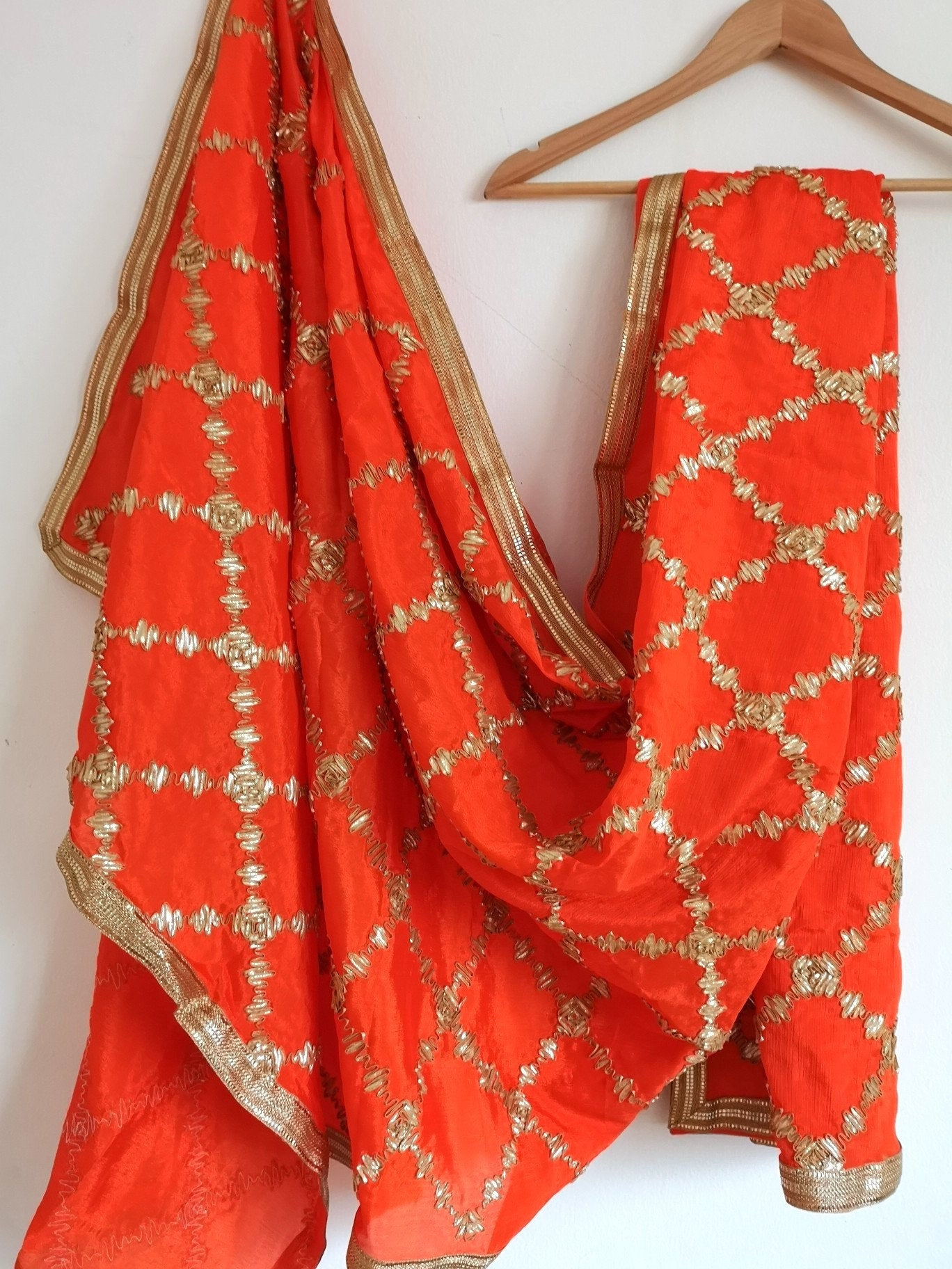 Orange gota patti chinnon / chinon dupatta (scarf), bridal wear, party wear, suit, lehenga, anarkali, bride, bridesmaids - Pink Chunari
