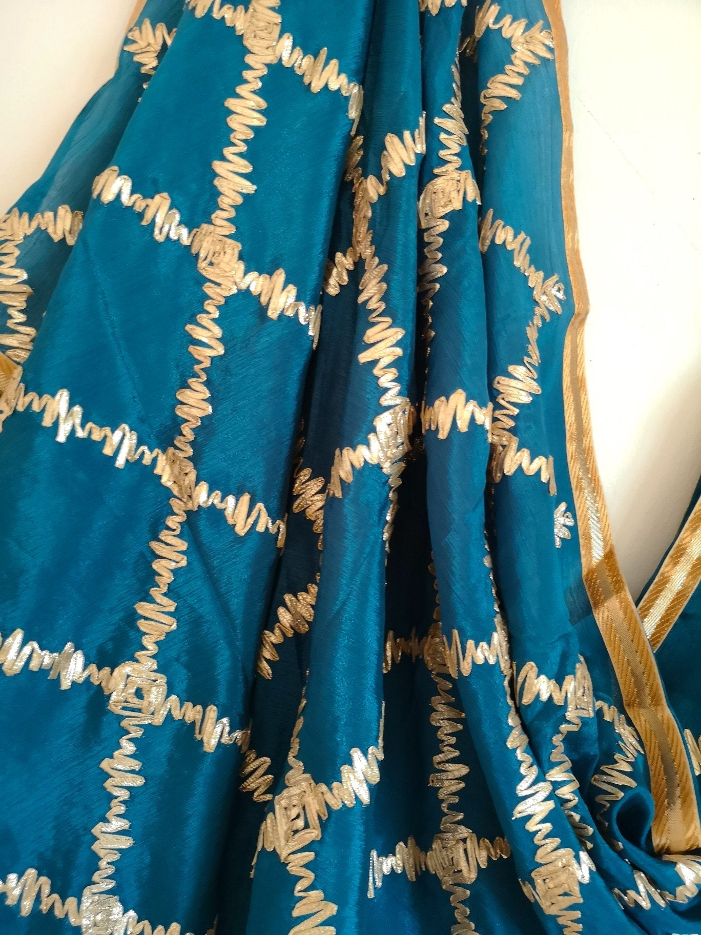 Teal Blue gota patti chinnon / chinon dupatta (scarf), bridal wear, party wear, suit, lehenga, anarkali, bride, bridesmaids - Pink Chunari