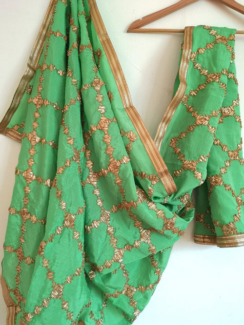 Green gota patti chinnon / chinon dupatta (scarf), bridal wear, party wear, suit, lehenga, anarkali, bride, bridesmaids - Pink Chunari