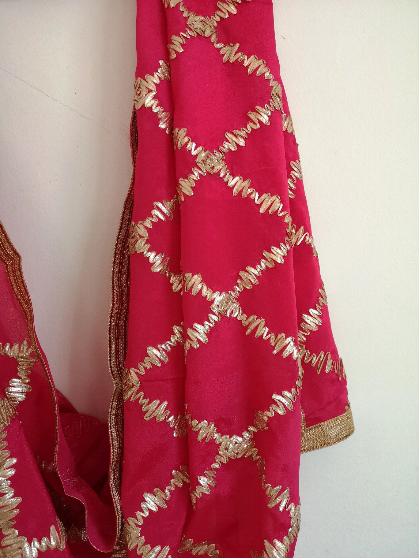 Red gota patti chinnon / chinon dupatta (scarf), bridal wear, party wear, suit, lehenga, anarkali, bride, bridesmaids - Pink Chunari