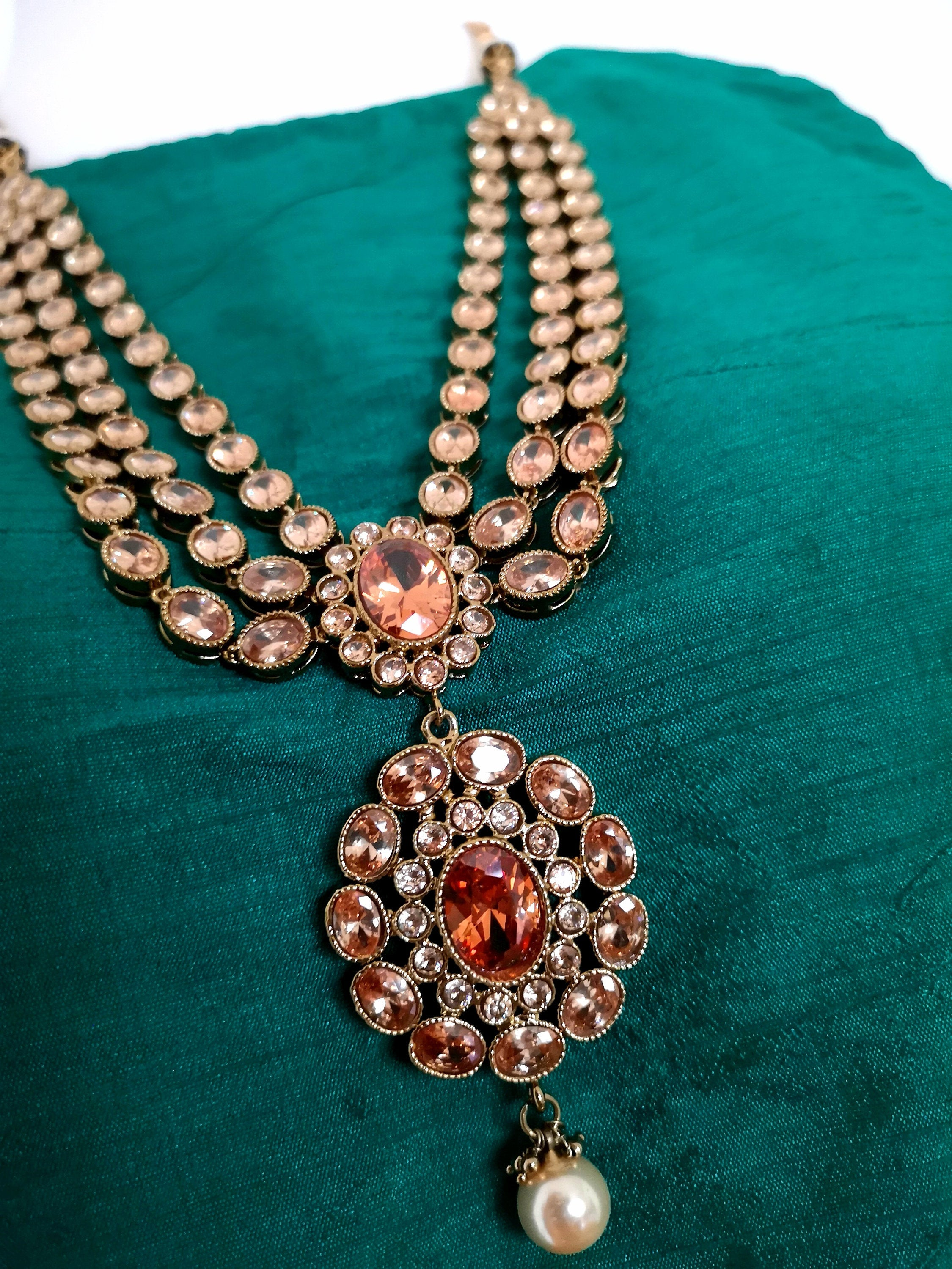 Indian polki 3 layer with pearl (mehendi-plated) necklace with mangtikka and earrings set Indian Pakistani Bride Bridal Bridesmaid - Pink Chunari