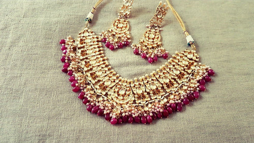 High quality kundan necklace and earrings with red bead stones bridal wear party wear jewelry - Pink Chunari