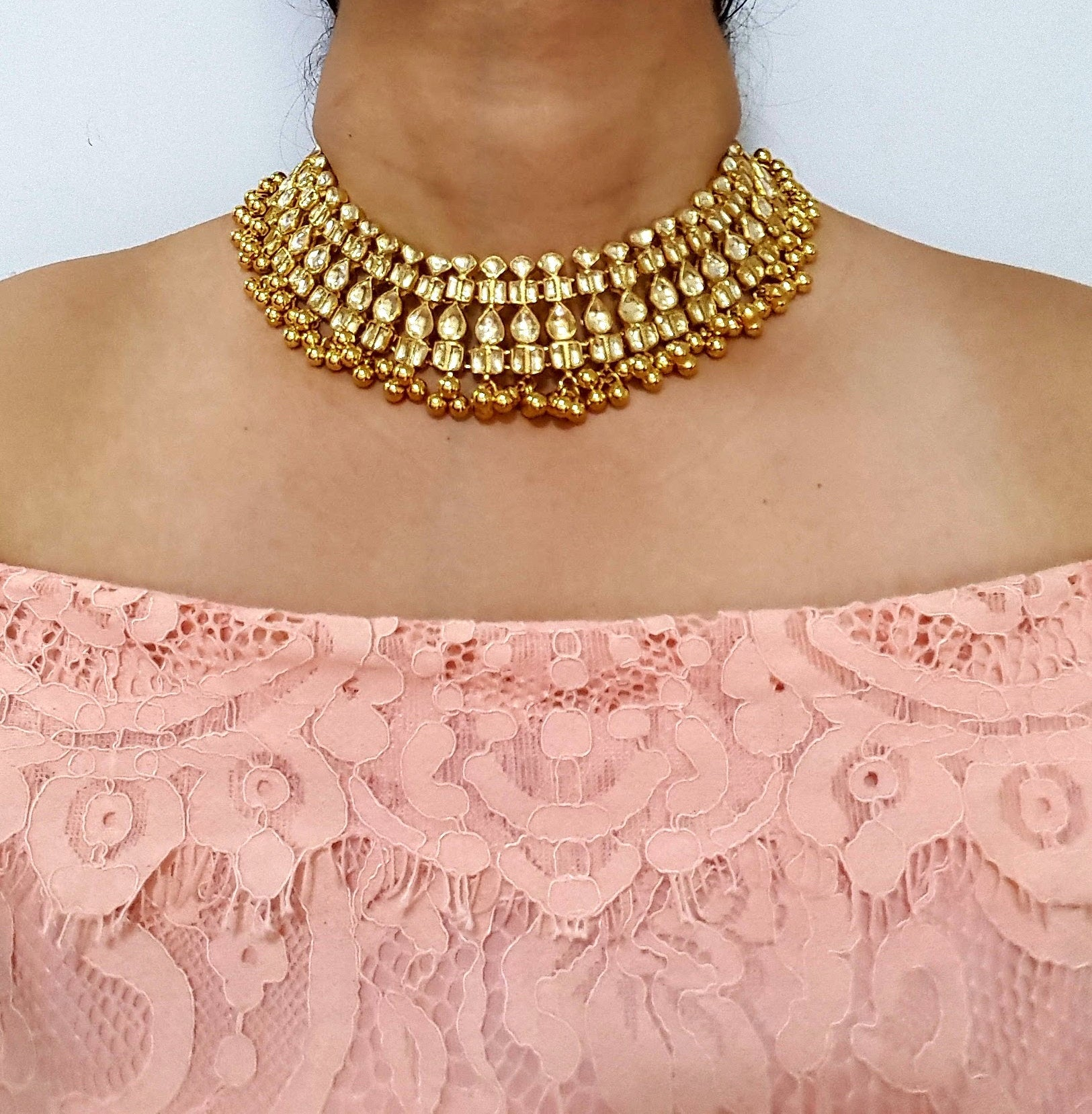 High quality kundan necklace bridal Indian Pakistani South Asian wear party wear jewelry - Pink Chunari