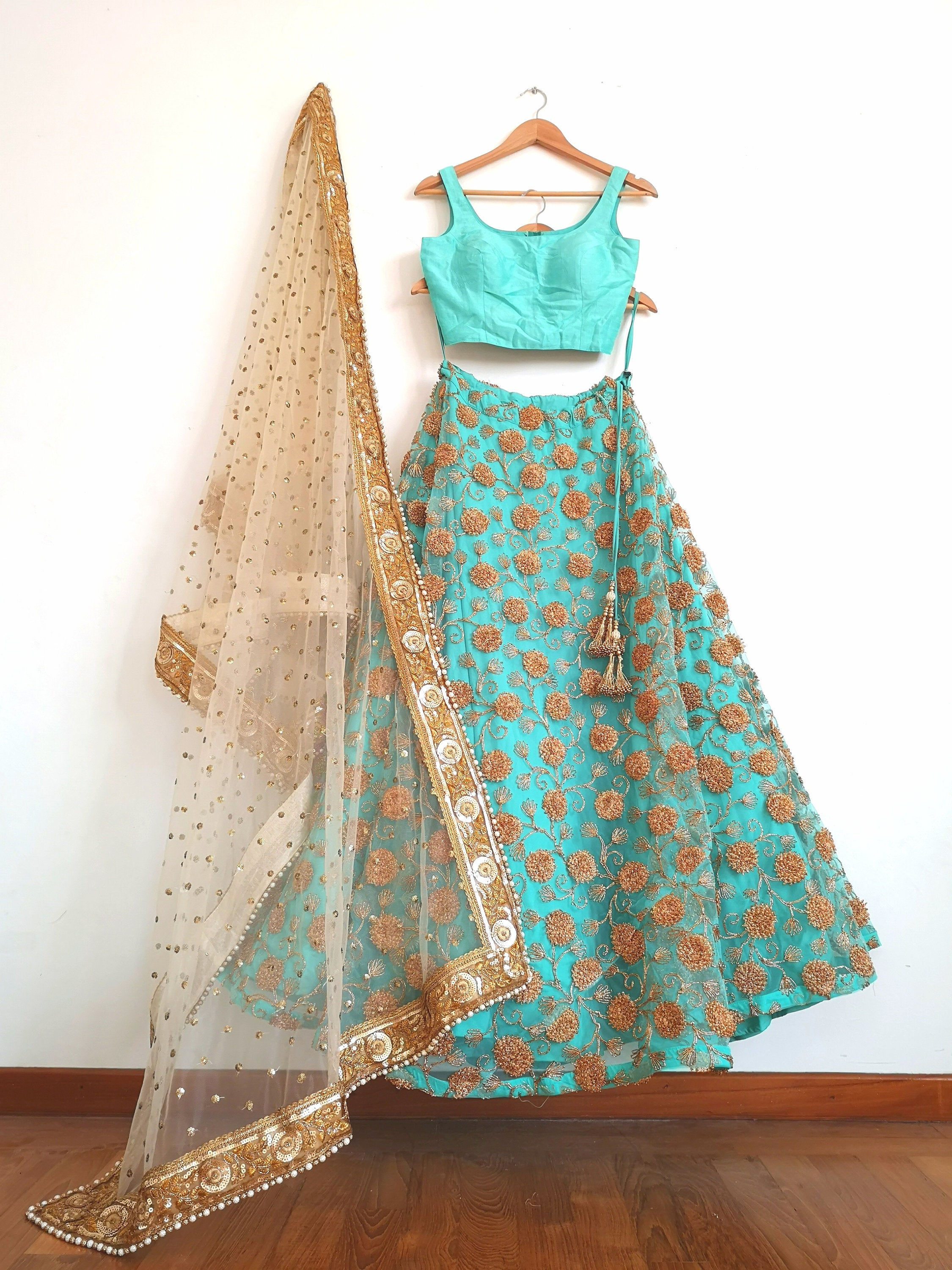Sky blue lehenga & semi raw silk blouse crop top gold net dupatta prom graduation western Indian Pakistani wedding bride bridal bridesmaid - Pink Chunari