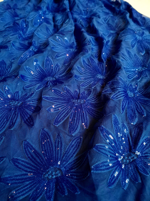 Gorgeous blue sequins embroidered fabric for lehenga, gown, anarkali Indian Pakistani wedding bride bridal bridesmaid - Pink Chunari