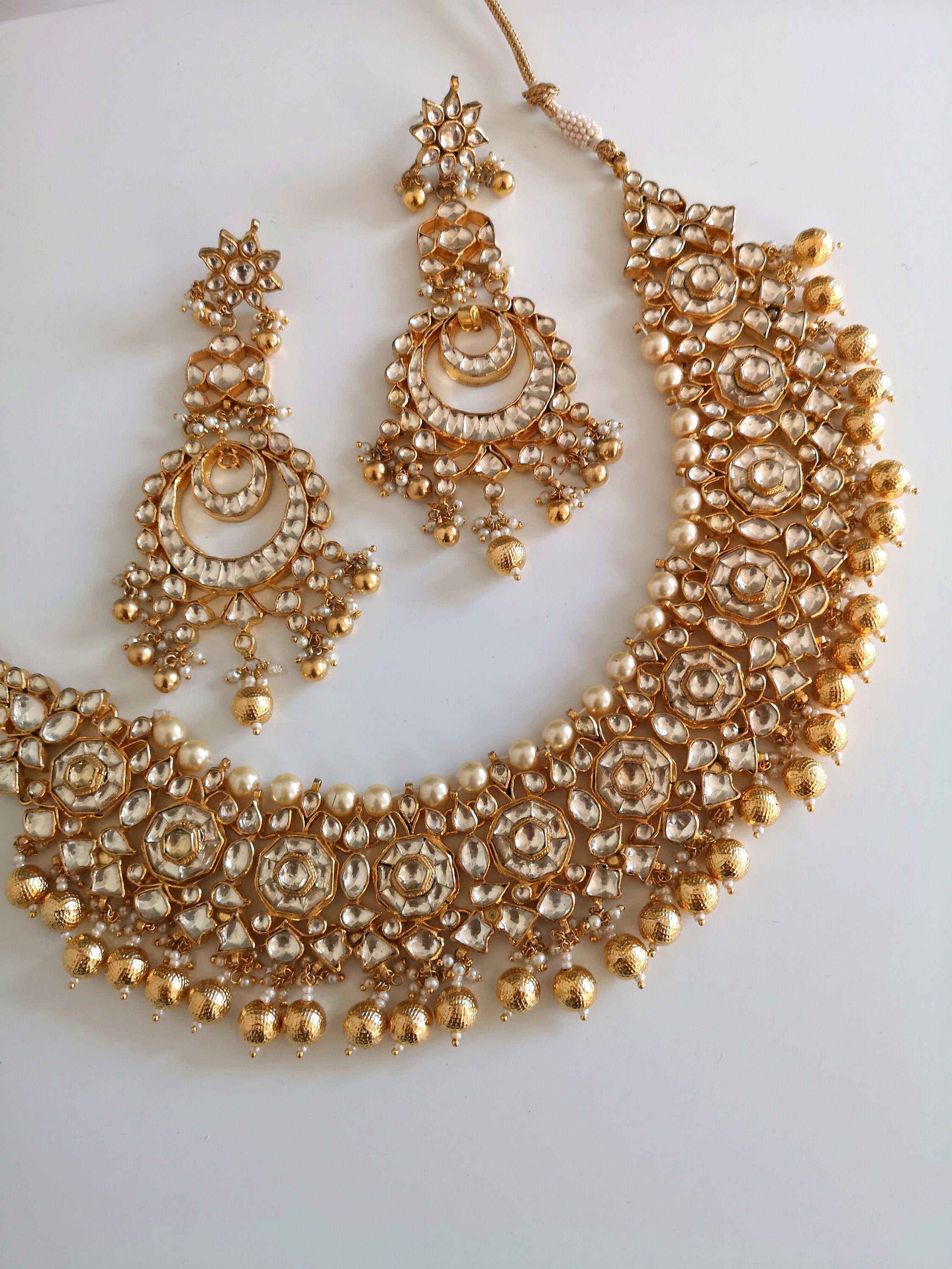 Gorgeous Indian high quality kundan choker gold beads drops and large earrings set Indian Pakistani Bride Bridesmaid - Pink Chunari