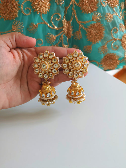 Gorgeous Indian high quality kundan earrings small jhumki with gold pearl beads drops Indian Pakistani Bride Bridesmaid - Pink Chunari