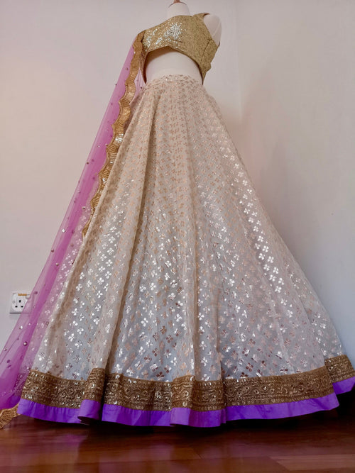 White chanderi lehenga, lilac blouse top, lilac dupatta with sequins pearl scallop border Indian Pakistani wedding bride bridal bridesmaid - Pink Chunari