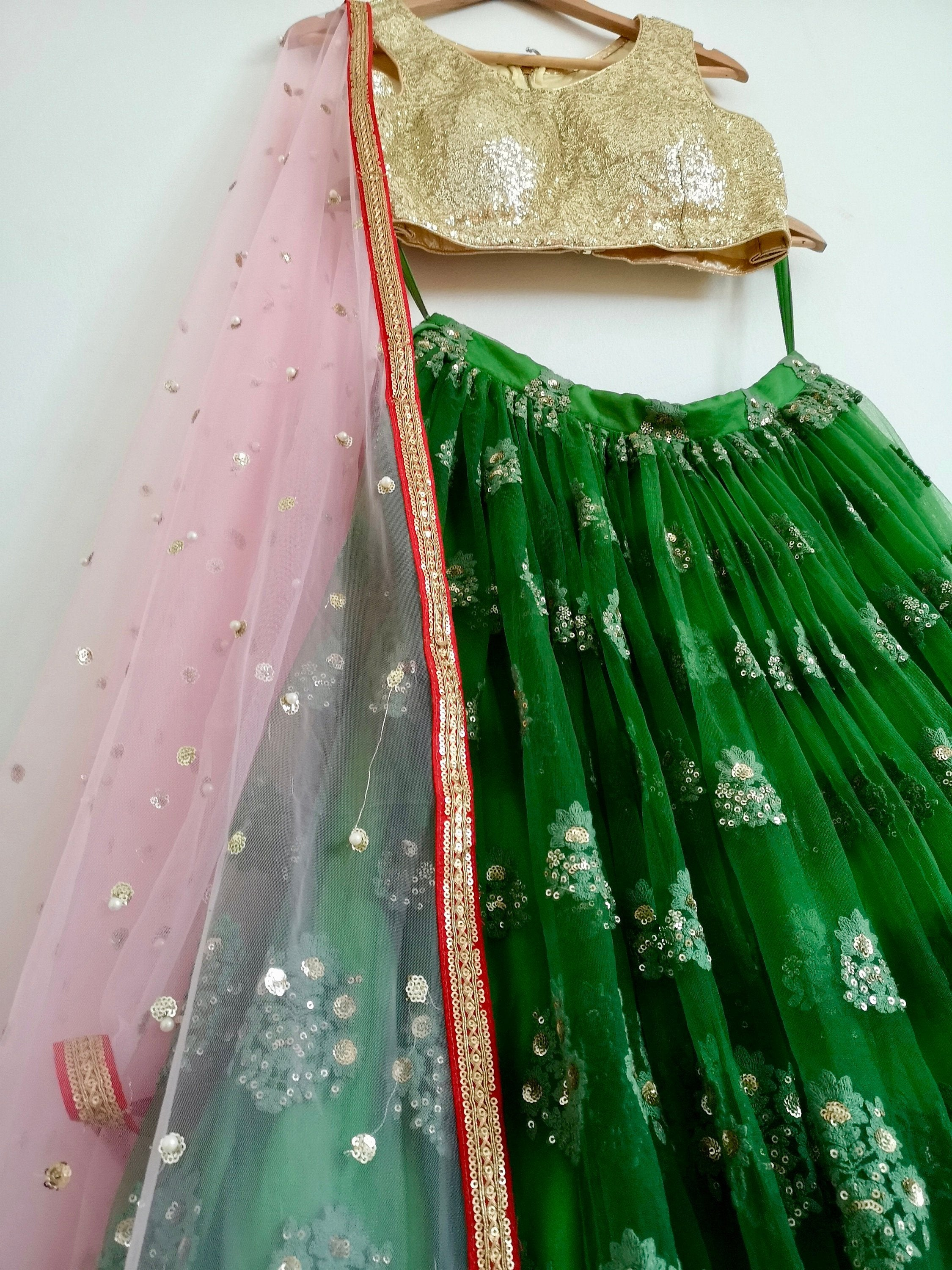 Sabyasachi pink and green, gold sequins embroidered lehenga, Indian Pakistani wedding bride bridal bridesmaid, customisable - Pink Chunari