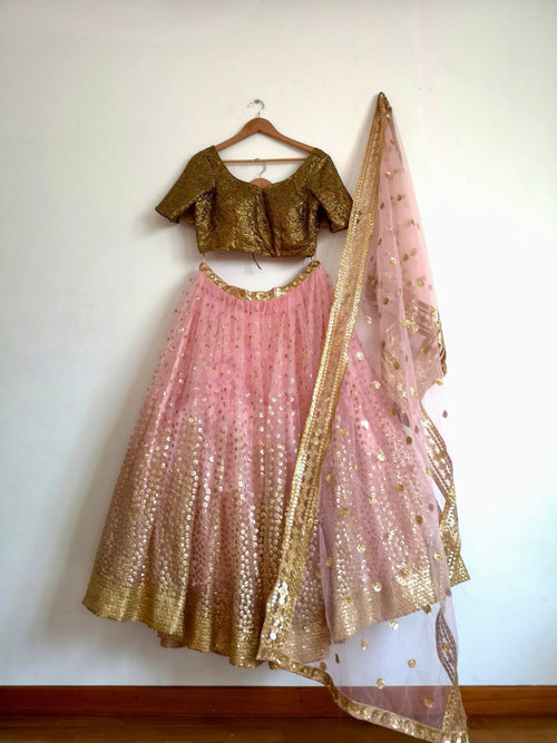 Antique gold sequin blouse top, sequins heavy embroidered lehenga skirt, Indian Pakistani wedding bride bridal bridesmaid, customisable - Pink Chunari