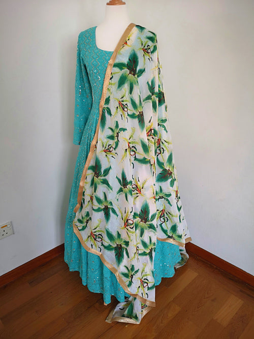 White Floral chinon dupatta with green flowers bridal festive party wear - Pink Chunari