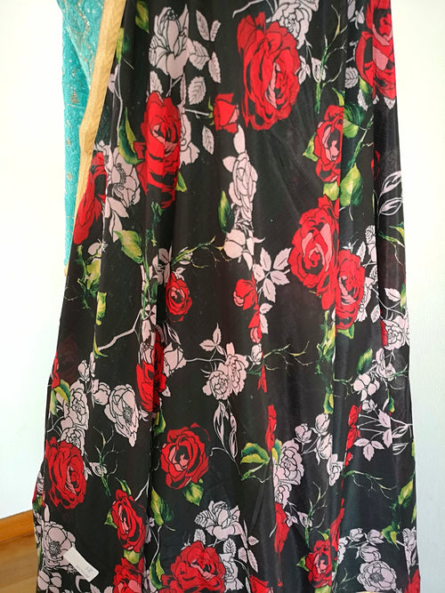 Black Floral chinon dupatta with red and pink coloured flowers bridal festive party wear - Pink Chunari