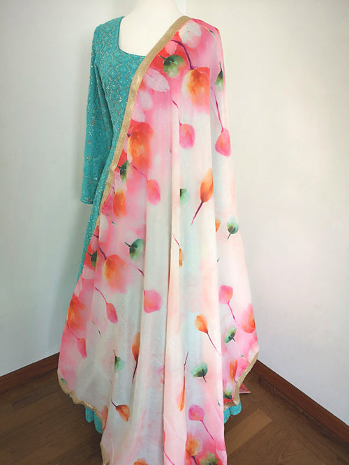 White Floral chinon dupatta with candy coloured flowers bridal festive party wear - Pink Chunari