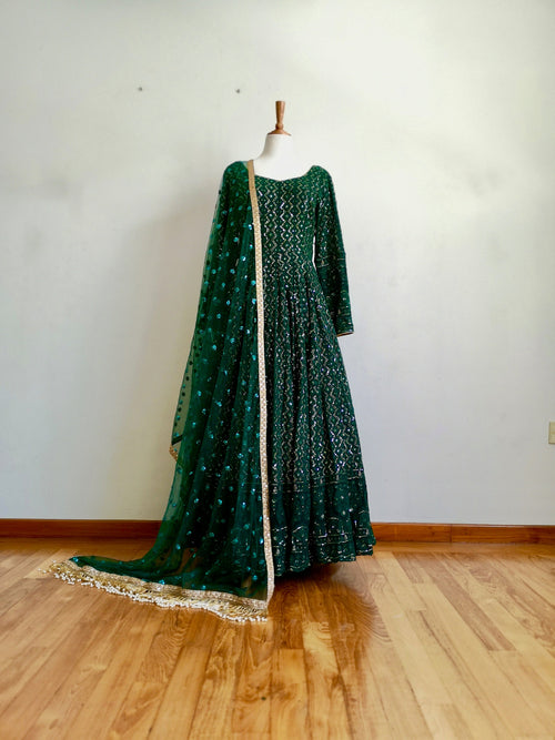 Forest Green Lucknowi georgette anarkali, wedding, bridal, party wear, Indian Pakistani Wear, bride and bridesmaids - Pink Chunari