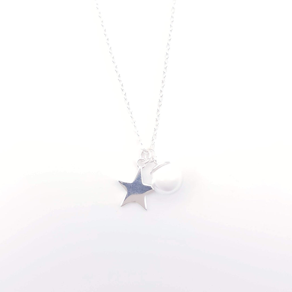 Sterling Silver Charm Necklace for Breast Milk Jewelry Vial - Frosty Star