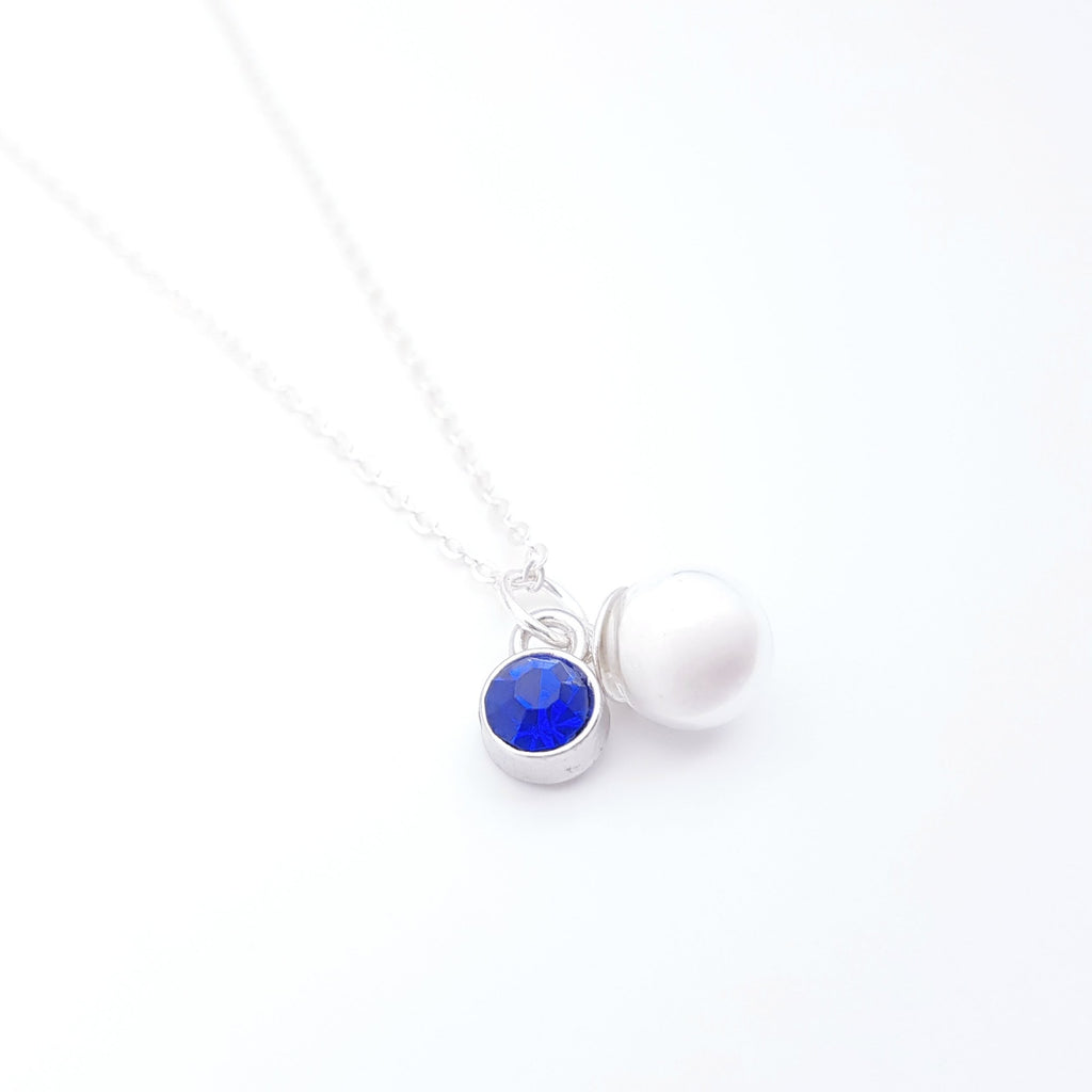 Birthstone Charm Sterling Silver Necklace for Breast Milk Jewelry Vial - NL-14
