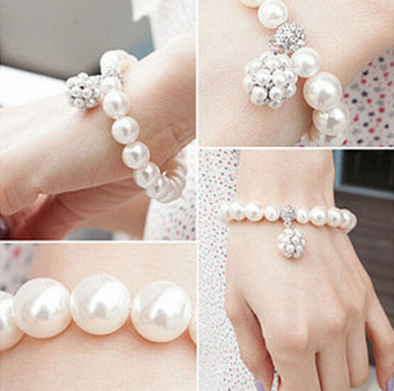 fashion new brand crystal adjustable strench bracelets charm imitation pearl beads jewelry
