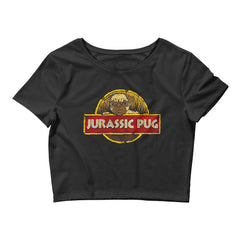 Jurassic Pug Black Cropped T-Shirt
