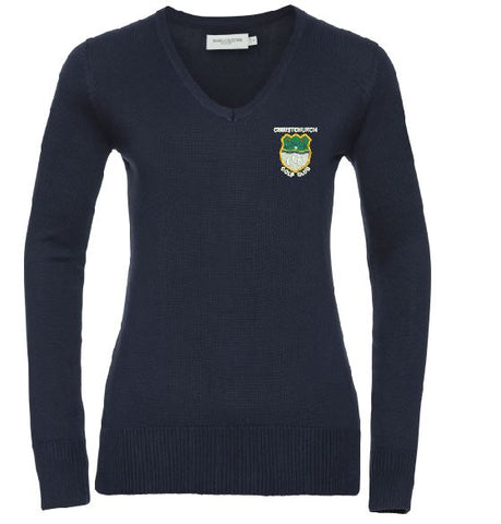 Christchurch Golf Club Embroidered Ladies V Neck Jumper