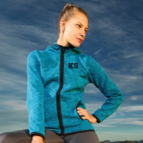Personalised Ladies Melange Knit Fleece Jacket