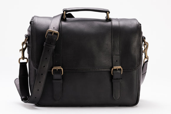 The Stiff Messenger | Black Leather Messenger Camera Bag | Albert Tusk Leather Goods Online