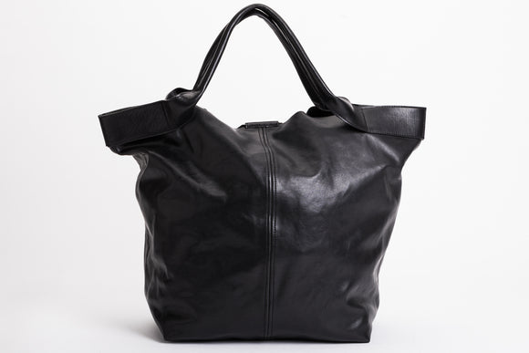 The Oversized Tote | Oversized Black Leather Tote | Albert Tusk Leather Goods Online