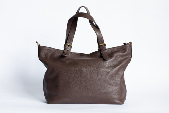 The Carryall Zip-Tote | Chocolate Brown Leather Tote Bag | Albert Tusk Leather Goods Online