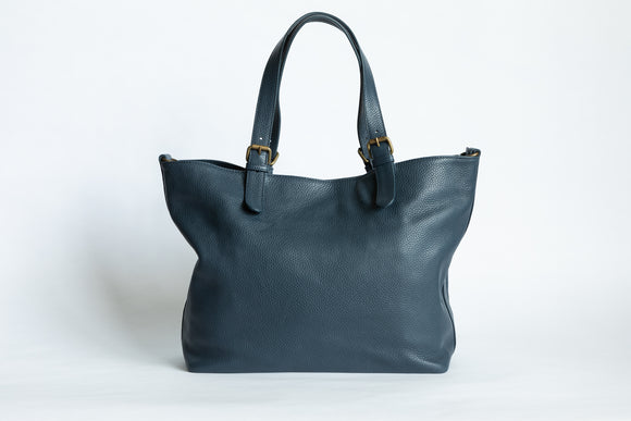 The Carryall Zip-Tote | Blue Leather Tote Bag | Albert Tusk Leather Goods Online