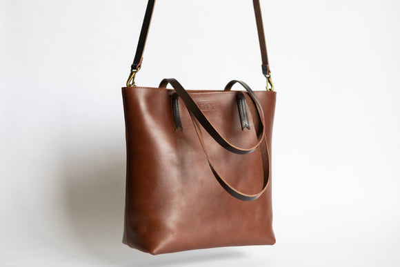 The Classic Zip-Tote | Tan Leather Tote Bag | Albert Tusk Leather Goods Online