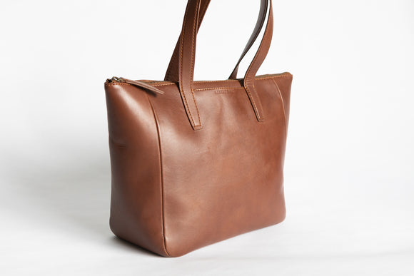 The Daily Zip-Tote | Tan Leather Tote Bag | Albert Tusk Leather Goods Online