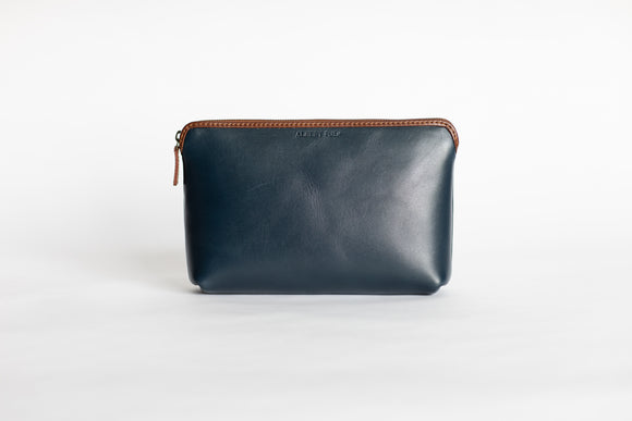 The Large Pouch | Blue Leather Pouch | Albert Tusk Leather Goods Online