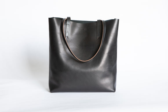 The Large Tote | Black Leather Tote Bag | Albert Tusk Leather Goods Online